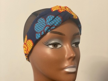 For Sale: Blue Ankara print headband
