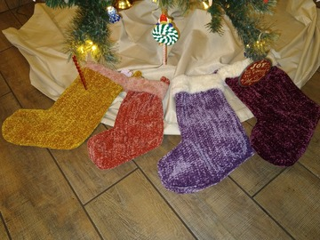 Selling with online payment: Velvety Crocheted Christmas Stocking