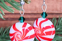 Selling with online payment: Peppermint Swirl Candy Cane Earrings