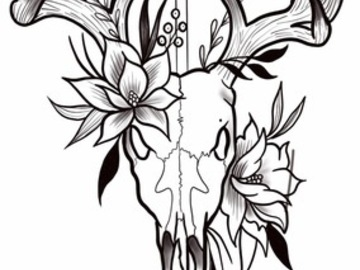 Tattoo design: Stag Skull and Flowers