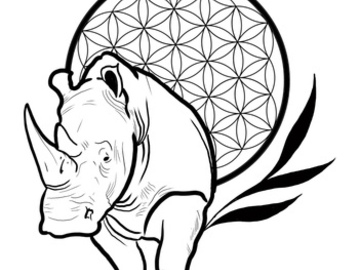 Tattoo design: Rhino with flower of life
