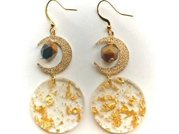 Selling: Gold Moon & Tigers Eye Dangle Earrings