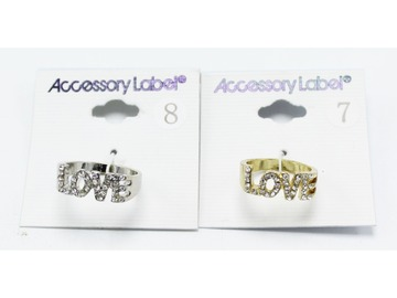 "Buy Now: 24 Piece Gold & Silver Rhinestone ""LOVE"" Rings NWT"