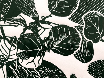 Selling with online payment: Seagrape Block Print, Artist Hand-Printed