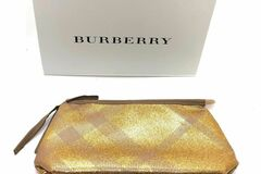 Liquidation/Wholesale Lot: Burberry Gold Makeup/cosmetic Pouch-20pc Lot