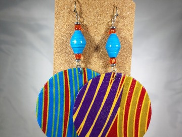 Selling with online payment: SALE: Double Paperbead and Fabric Earrings