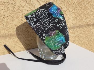 Vente au détail: Calot chirurgical, chapeau de bloc en tissu coton batik motif flo