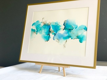 : Turquoise dream- A3 size Alcohol inks painting