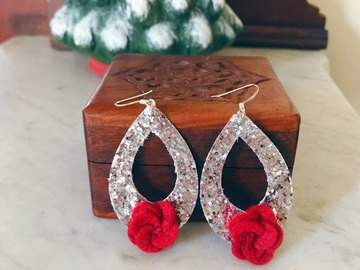 Selling: Crimson Felt Floral Christmas Earrings