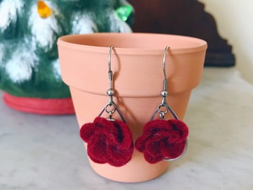 Selling: Crimson Felt Floral Earrings