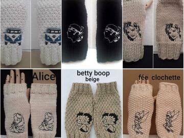 Vente au détail: mitaines, gants sans doigts, laine , betty, combis, alice, myléne