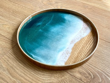 : Wood Serving Tray - Turquoise