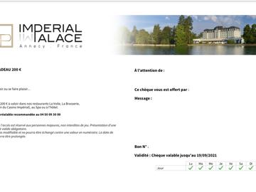 Vente: Chèque cadeau Imperial Palace Annecy (103€)