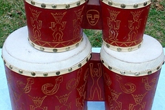 Selling with online payment: Rare double pair of etched bongos with skin heads