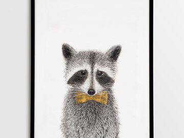 For Sale: Framed Raccoon Illustration
