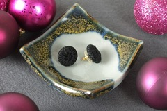 Selling with online payment: Recycled Vintage Black Fabric Button Earrings