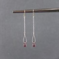 Selling with online payment: Long Chain Frosted Purple Drop Earrings