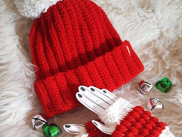 Selling with online payment: Big Pom Red Ribbed Slouchie Hat w/Fingerless Gloves