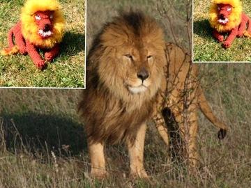 Vente au détail: Peluche lion de safari ,fait main