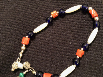 Selling: Cobalt Bead & Bone Hairpipe Bracelet