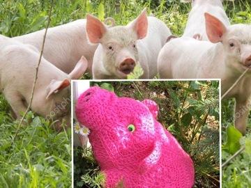 Vente au détail: Peluche cochon au crochet