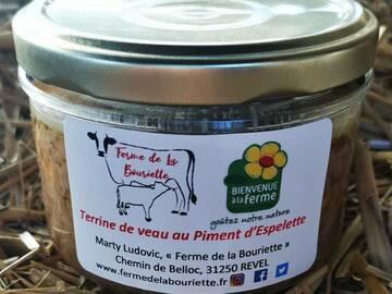 Vente avec paiement en direct: Pâté - Terrine de veau au piment d'Espelette - Conserve 180g
