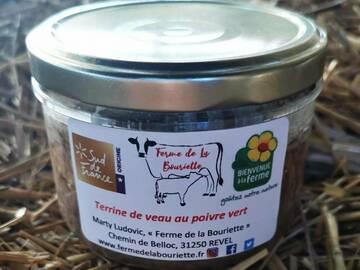 Vente avec paiement en direct: Pâté - Terrine de veau au poivre vert - Conserve 180g