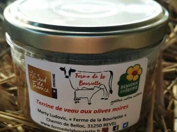 Vente avec paiement en direct: Pâté - Terrine de veau aux olives noires - Conserve 180g