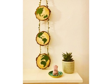 : Hand painted 3 phase globe wall hanger