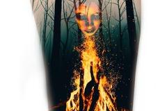 Tattoo design: Burning Witch