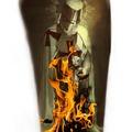 Tattoo design: Burning Templar Friday 13th