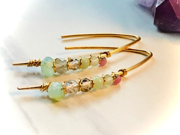 Selling: Pastel Gemstone Threader Earrings - Gold Plated Wire