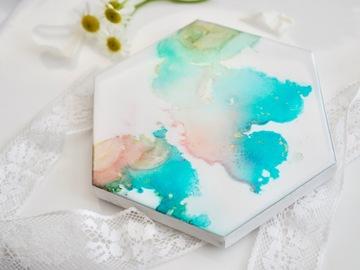 : Peachy blue marble - Original alcohol ink art marble coaster.