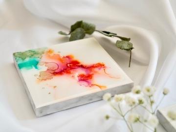 : Raspberry marble - Original alcohol ink art marble coaster.