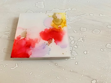 : Red marble - Original alcohol ink art marble coaster.