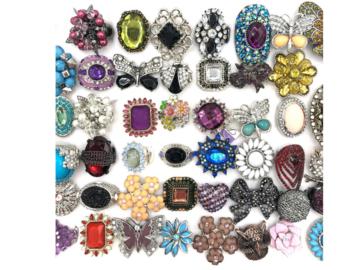 Liquidation/Wholesale Lot: 30 Stretch Crystal Rhinestone Rings
