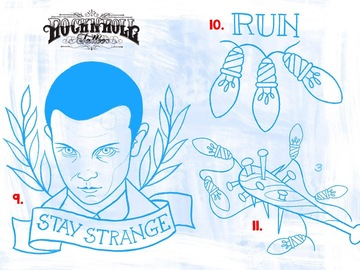 Tattoo design: 11.  Stranger Things - Spiked Club and X-Mas Lights