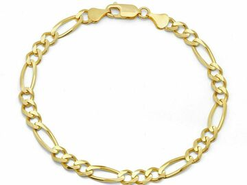 "Buy Now: 12 pcs 14 KT GOLD PLATED CUBAN LINK BRACELET- 8"" Long-8 mm"