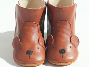 : Baby / Toddler Genuine Leather Bear Booties