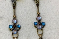 Selling with online payment: Brass and Swarovski Crystal  Chandelier Earrings