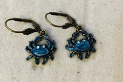 Selling with online payment: Brass Hand Enameled  Earrings