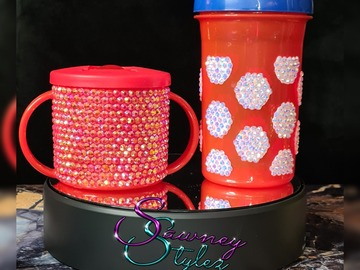 For Sale: Red and Teal blinged baby's sippy cup / beaker 9months+ 300ml