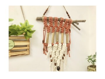 : Macrame and bamboo wall hanger - Sage/Terracotta