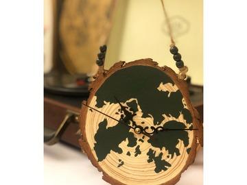 : HOME KONG hand painted wood slice clock