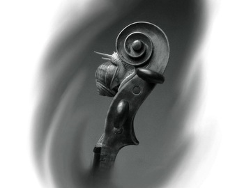 Tattoo design: Snail on classical headstock
