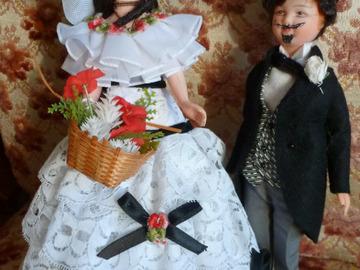 Vente: Couple de poupées de collection Second Empire