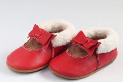 : Baby / Toddler Red Genuine Leather Moccasins