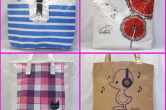 Sell: (50) LADIES PATTERNED CANVAS RAG TOTE HANDBAG - PRICE DROP