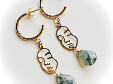 Selling: Feminine Faces - Gold Plated Hoops with Moss Agate