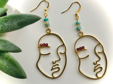 Selling: Feminine Faces - Gemstone Earrings with Garnet, Opals, & Jasper